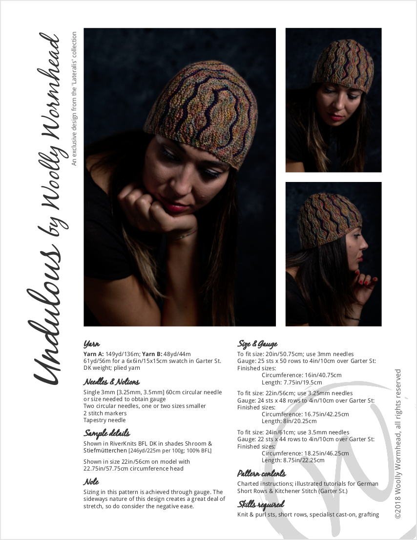 c26fc370b15 Undulous sideways knit short row striped hat knitting pattern