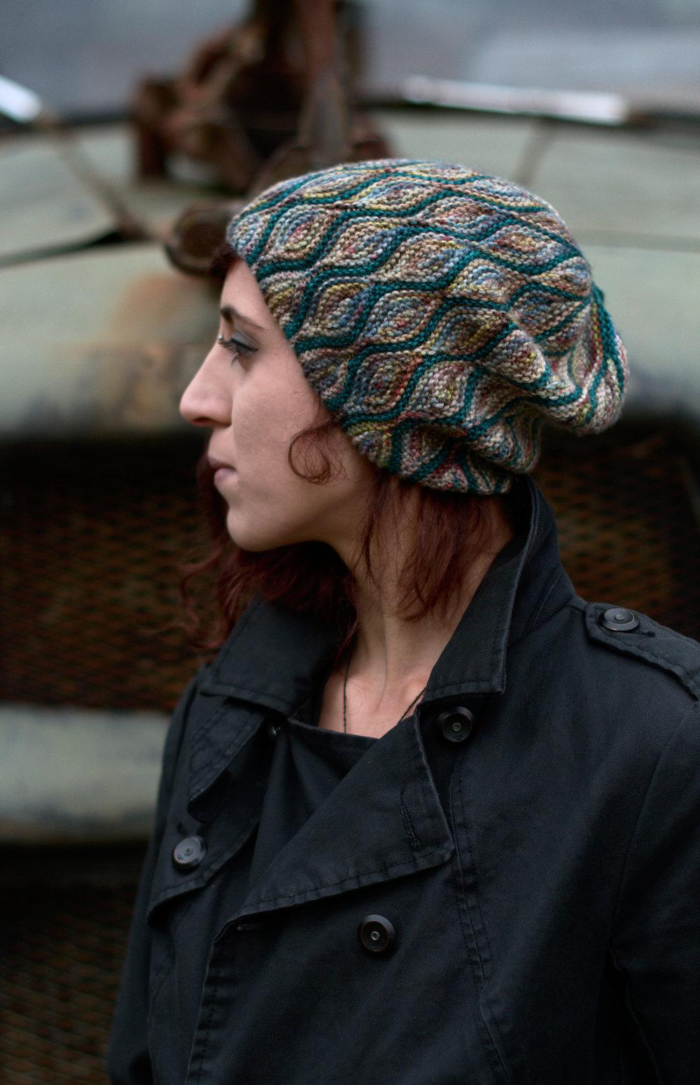 Rhinebeck hat sideways knit short row slouchy hat hand knitting pattern