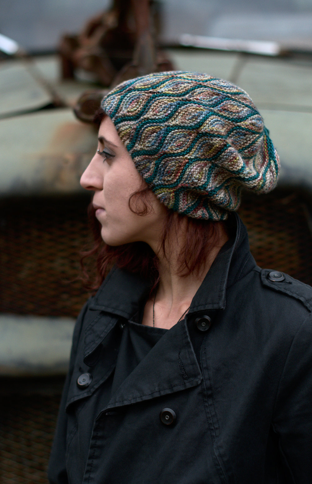 Rhinebeck hat sideways knit short row slouchy hat pattern