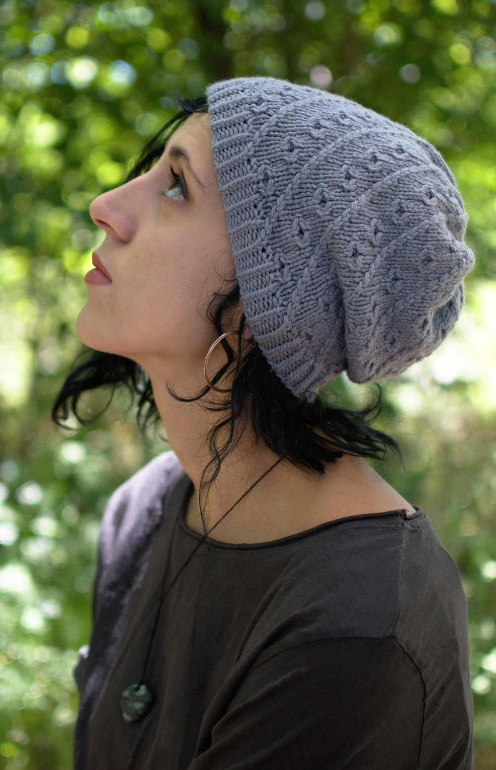 Pebbles beanie and slouchy hat pattern for worsted weight yarn