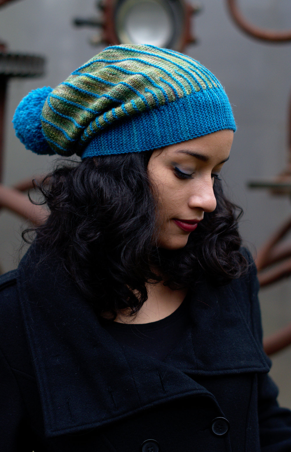 Misura sideways knit slouchy Hat hand knitting pattern for sock yarn