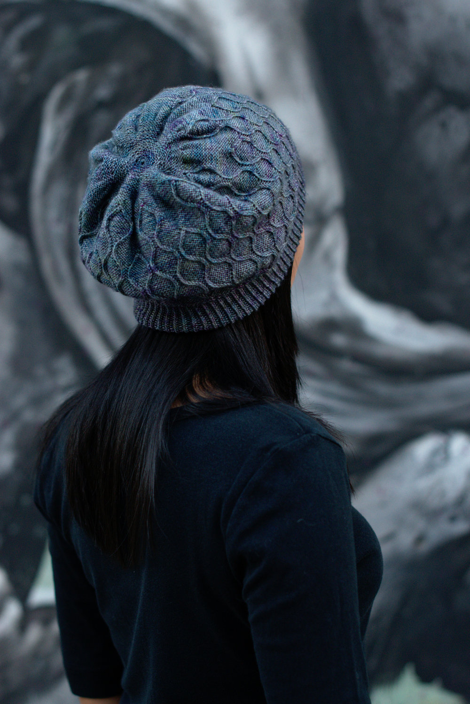 Filigree Slouch hand knitting hat pattern for sock yarn