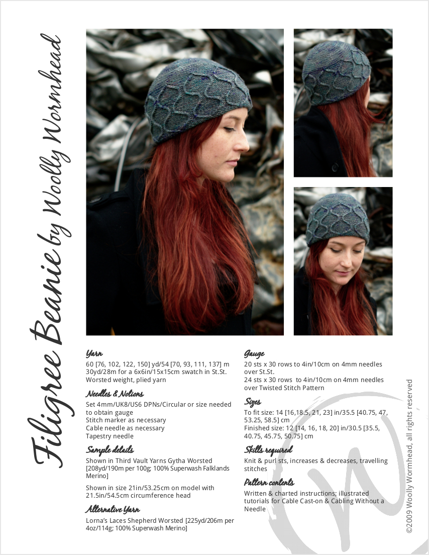 Filigree Beanie hand knitting pattern for an intricate Hat in worsted weight yarn