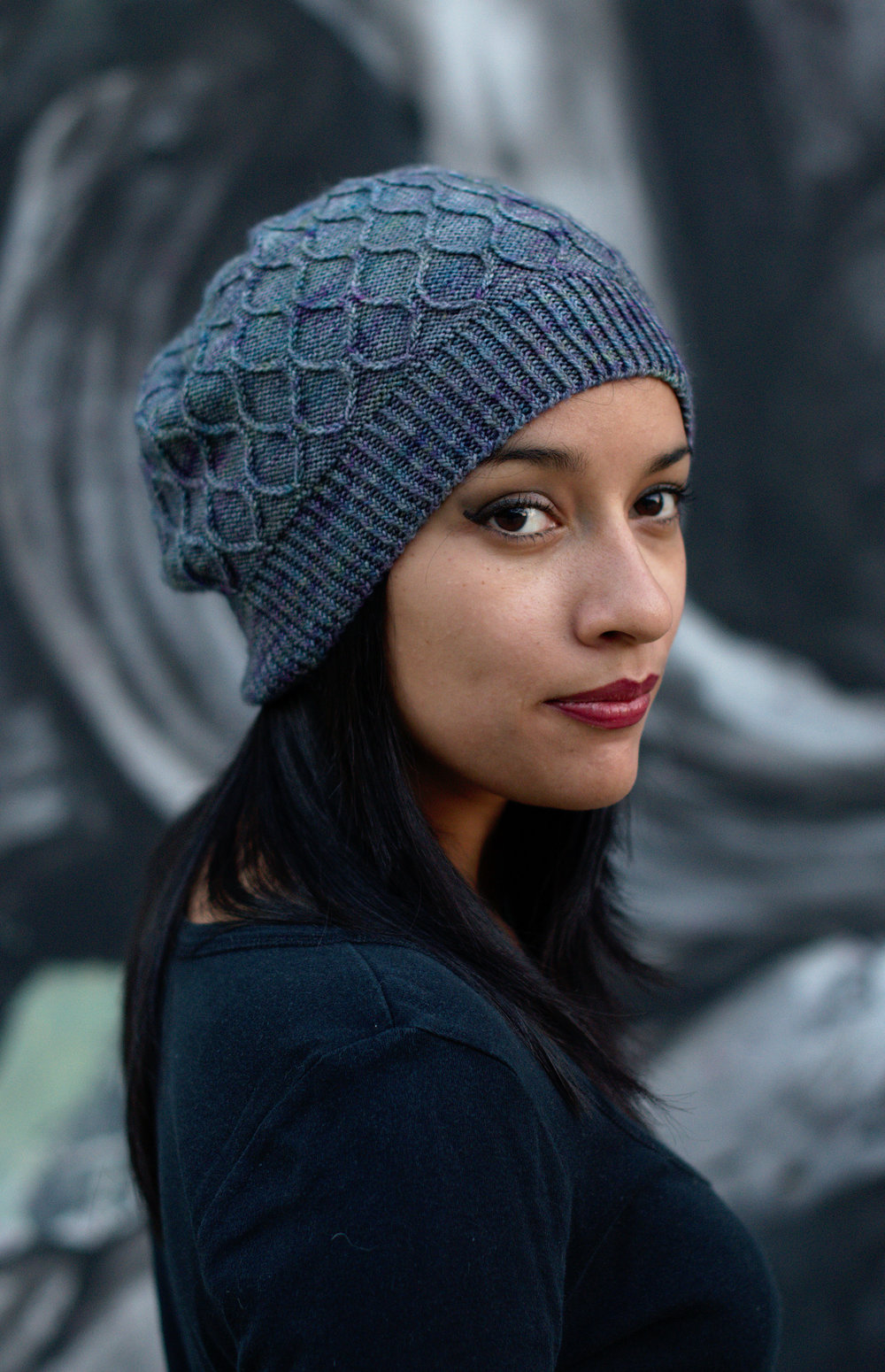 Filigree Slouch hand knitting hat pattern for sock weight yarn