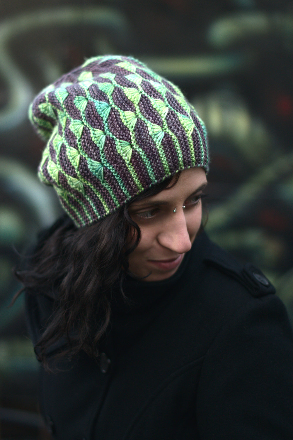 Diponaea reversible sideways knit slouchy hat for dk hand knitting yarn
