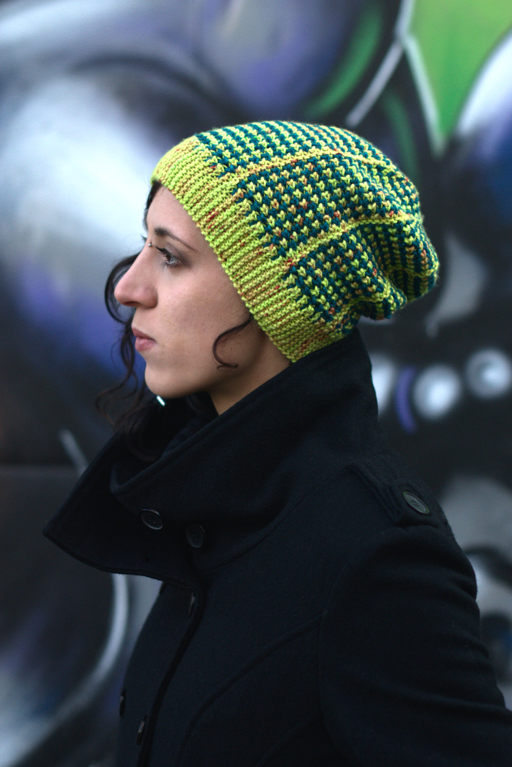 Kourserb reversible sideways knit slouchy hat for dk hand knitting yarn
