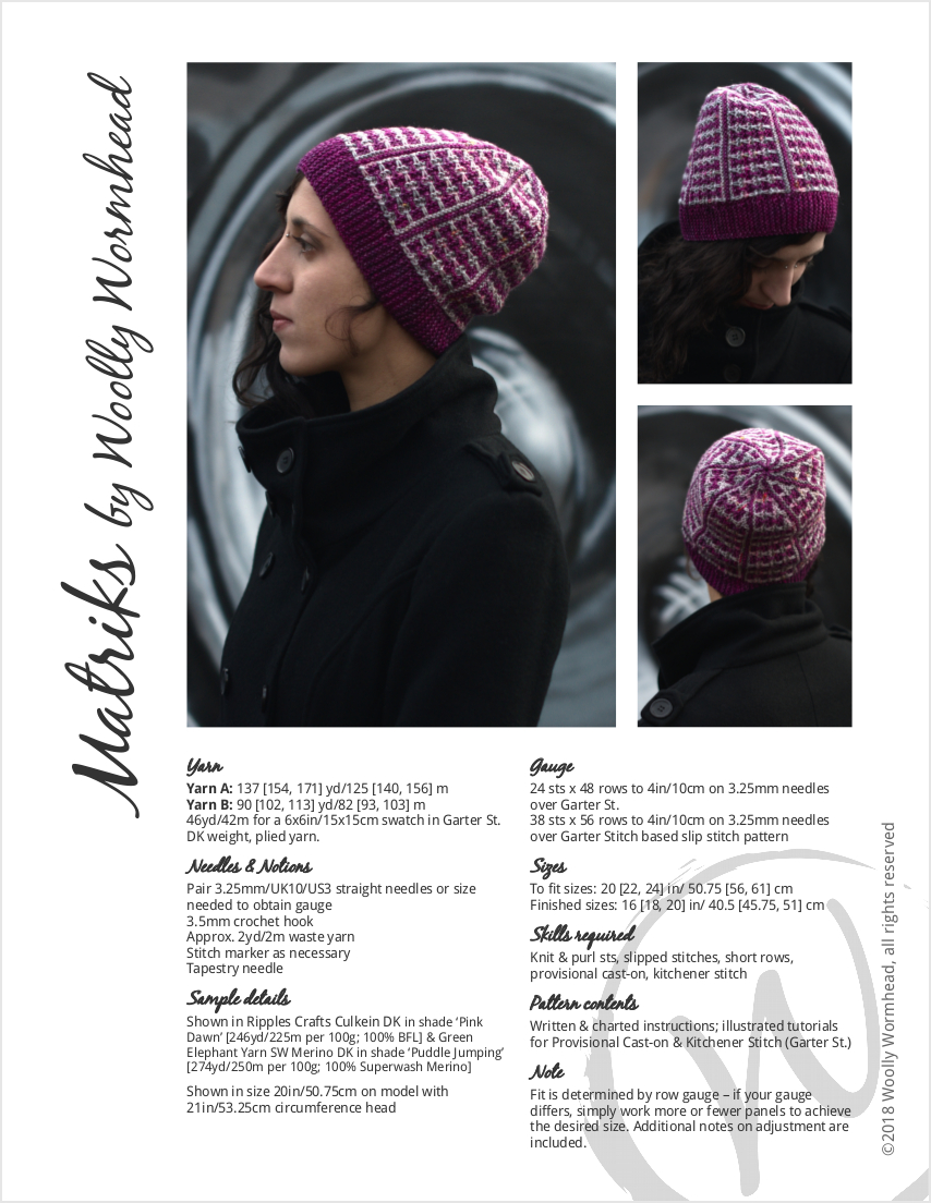 Matriks reversible sideways knit slouchy hat in two colours for dk yarn