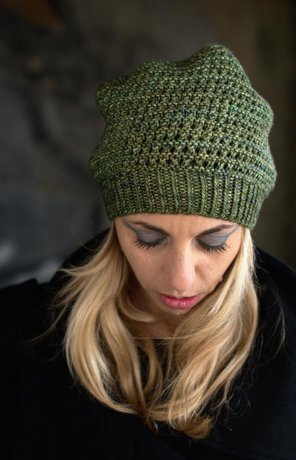 Waffle Slouch Hat hand knitting pattern
