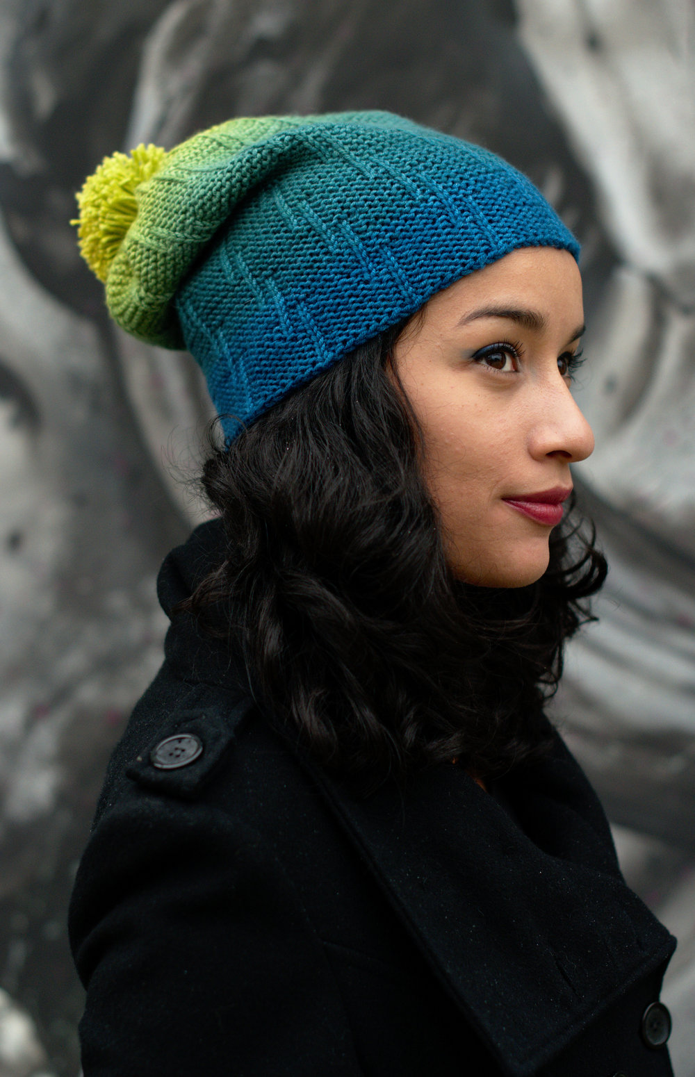 Incrementale slouch hand knit Hat pattern for gradient dk yarns