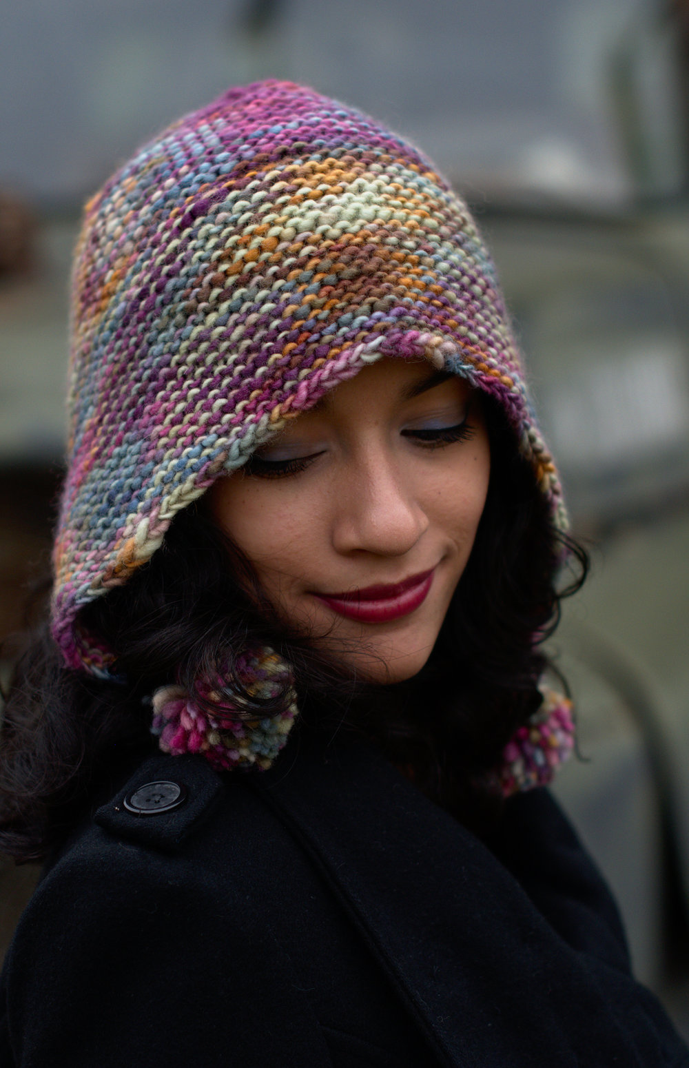 Angelica's Bonnet hand knit Hat pattern for a slouchy bonnet in chunky weight hand-dyed yarn