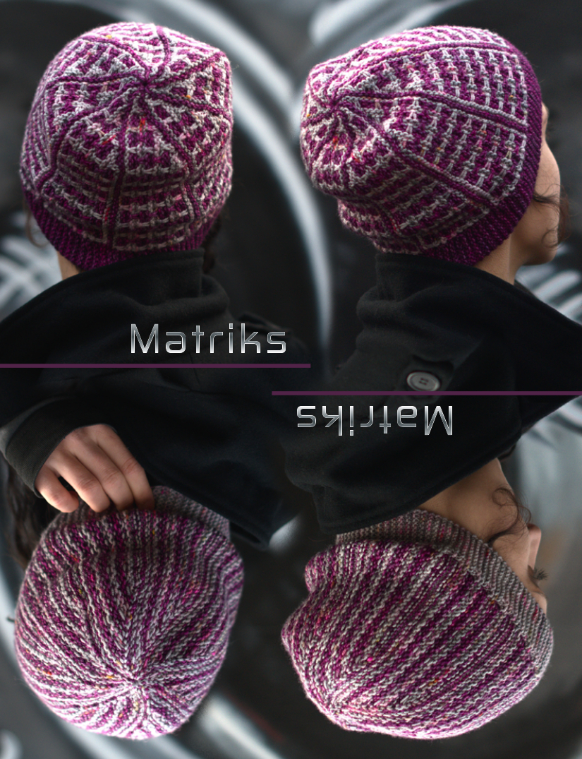 Matriks sideways knit slouchy Hat for hand dyed DK yarns