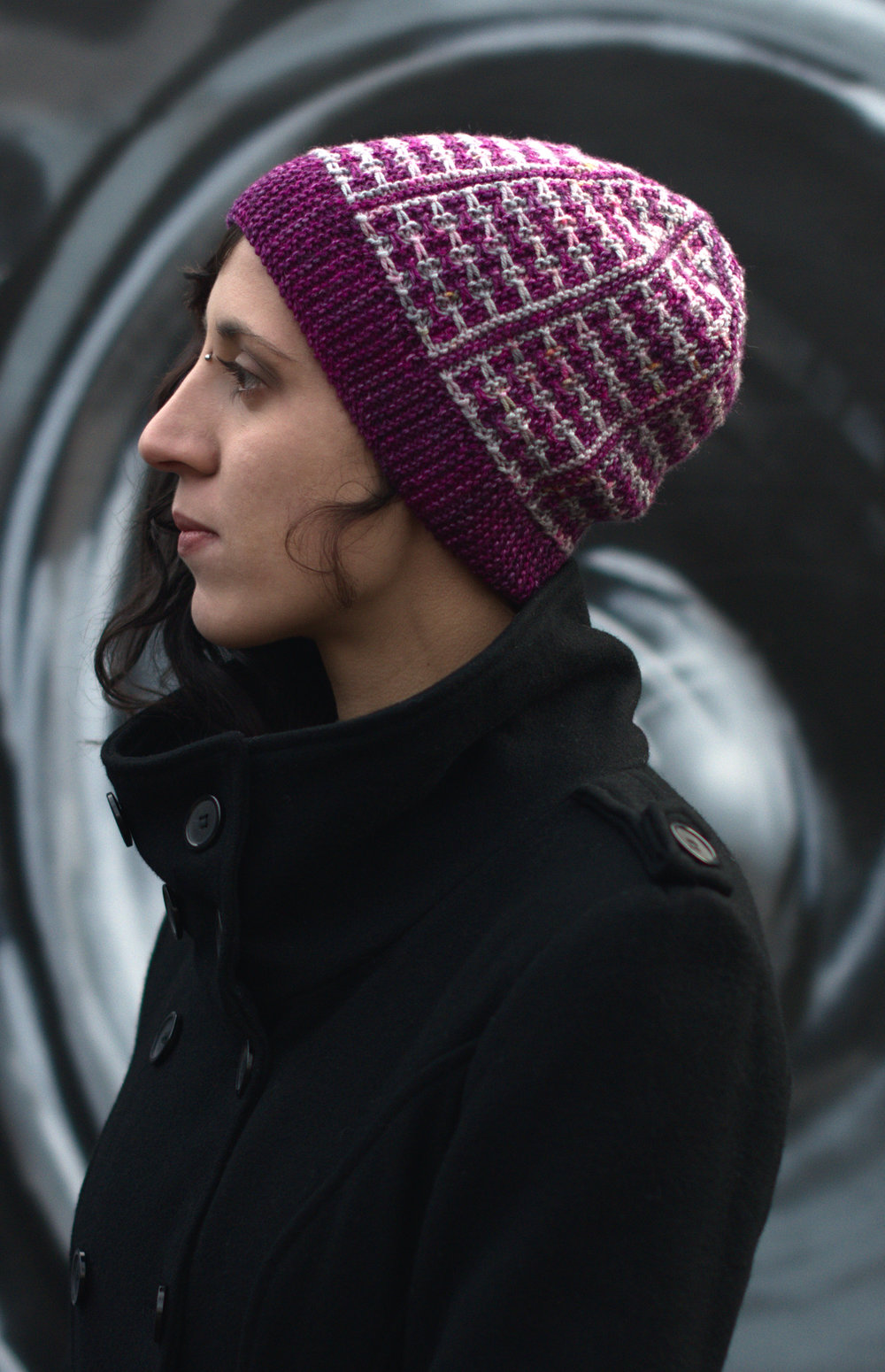 Matriks sideways knit slouchy Hat hand knitting pattern for hand-dyed DK yarns