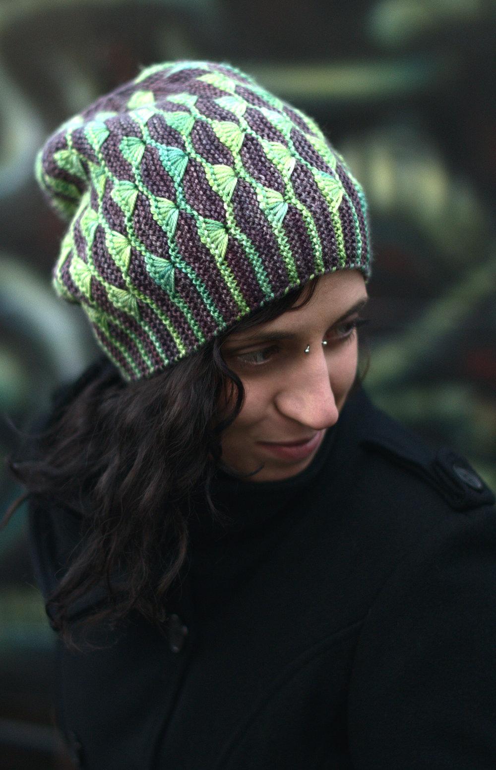 Diponaea sideways knit slouchy Hat hand knitting pattern for hand-dyed DK yarns