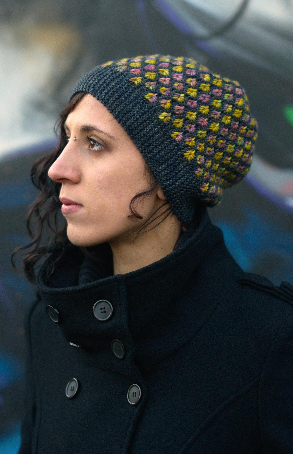 Klastar sideways knit slouchy Hat hand knitting pattern for hand-dyed DK yarns