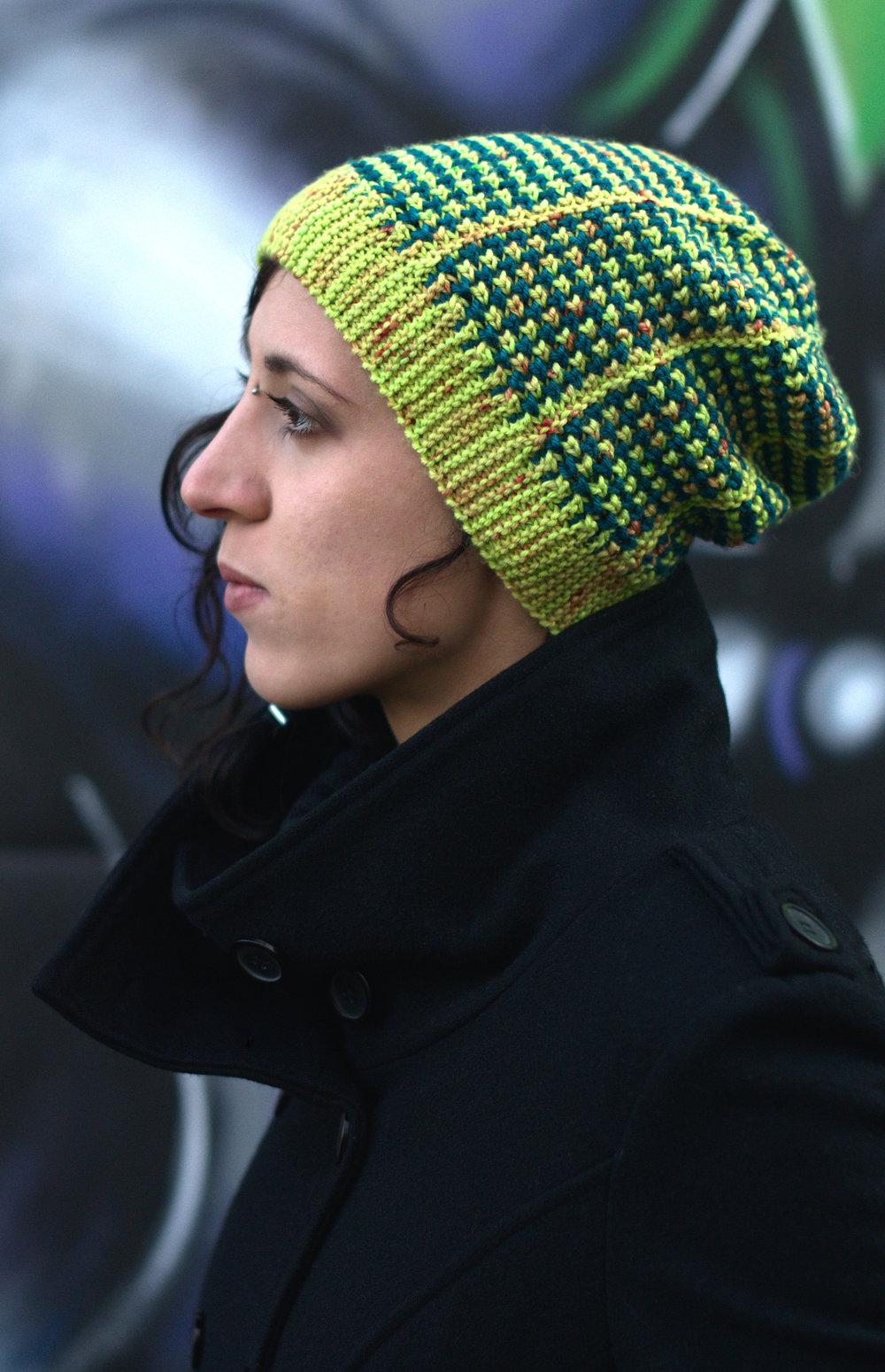 Kourserb sideways knit slouchy Hat hand knitting pattern for hand-dyed DK yarns