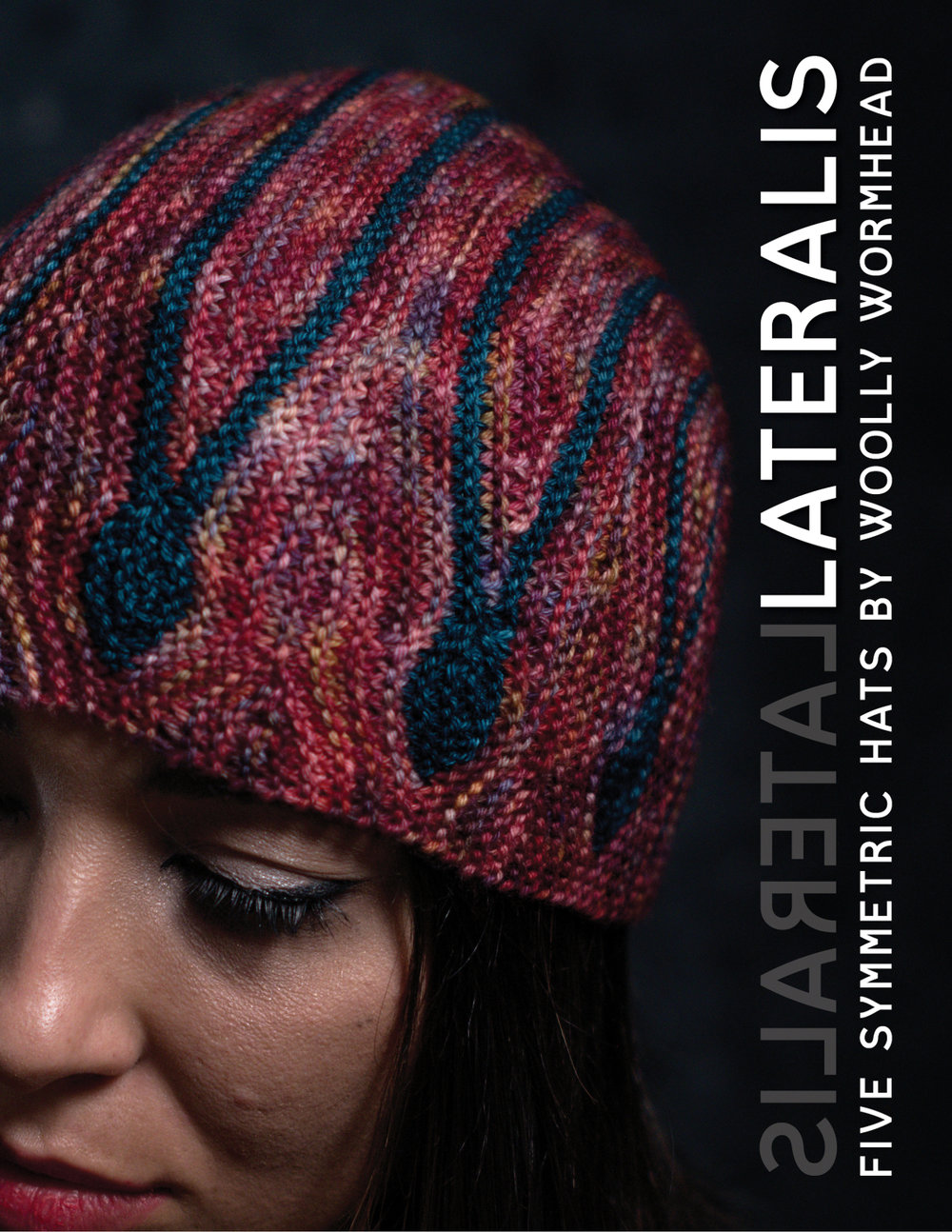 Lateralis eBook featuring 5 sideways knit Hats with a theme of reflection and symmetry