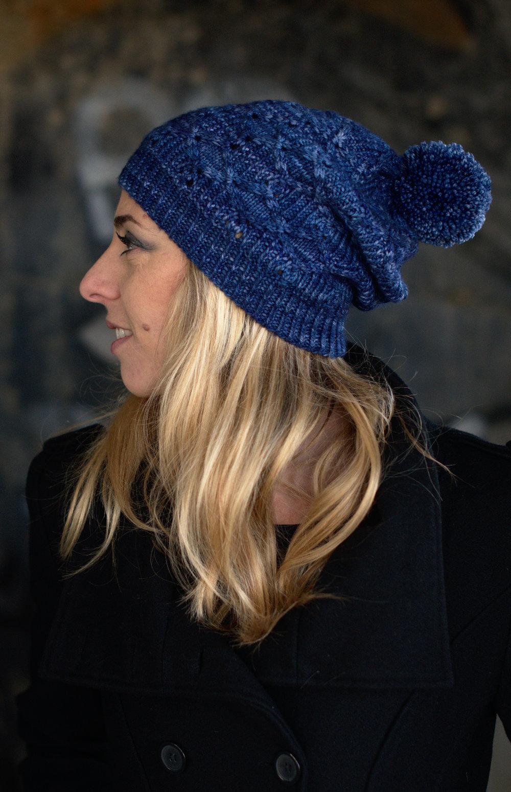 Losanga slouchy Hat hand knitting pattern for DK hand dyed wool yarn