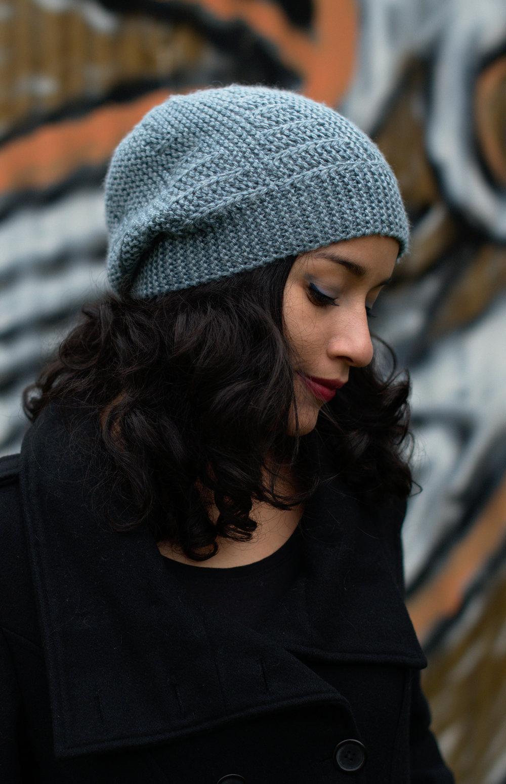 Ruschia sideways knit hand knitting pattern for hand dyed aran weight wool yarn