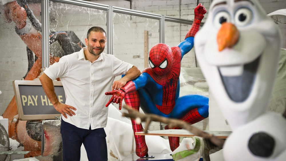 Propability-Ltd-Tyrone-Cano-pictured-in-his-workshop-with-Disney-Olaf-and-Marvel-Hero-Spiderman-Sculps-179.jpg