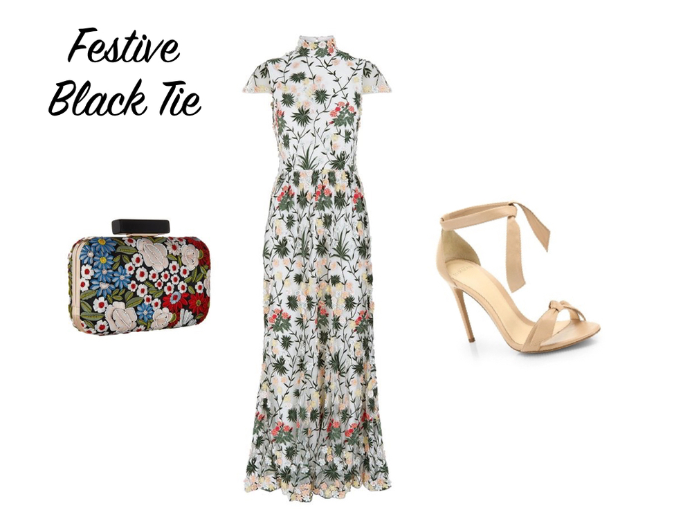 dress  &  bag , Alice + Olivia. shoes,  Alexandre Birman .