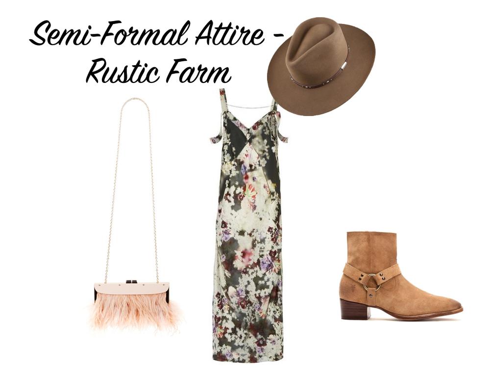 dress, Calvin Klein Collection. hat, Stetson. boots, Frye. bag, BCBGMaxAzria.