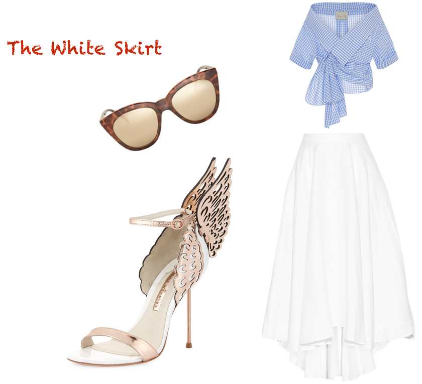 skirt,  Miguelina  $270. top,  Johanna Ortiz  $465. sunglasses,  Le Spec  $60. shoes,  Sophia Webster  $560.
