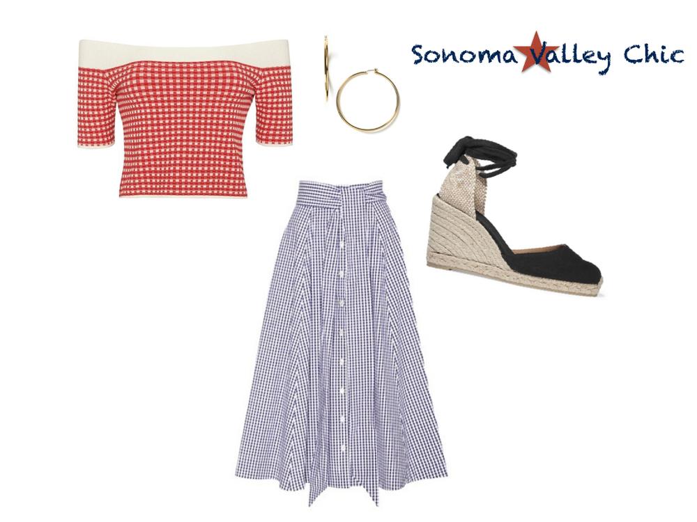 top,  Jonathan Simkhai  $179 | skirt,  Lisa Marie Fernandez  $590 | earrings,  Ralph Lauren  $44 | shoes,  Castañer  $110