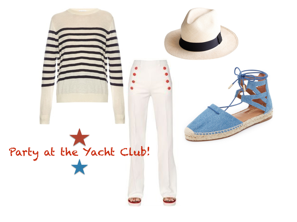 sweater,  Raey  $270 | pants,  Hilfiger Collection  $199.99 | hat,  J. Crew  $58 | shoes,  Aquazurra  $475