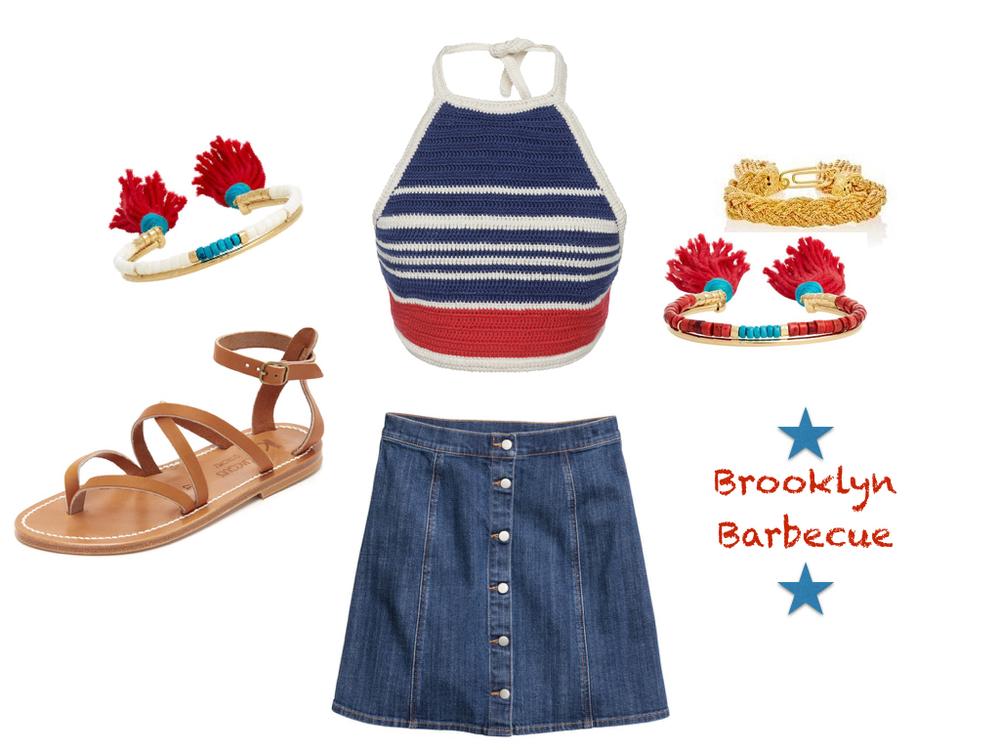 top,  Vika Gazinskaya  $299 | skirt,  H&M  $12.99 $ | shoes,  K. Jacques  $280 | bracelets, Aurélie Bidermann  $465  and  $330