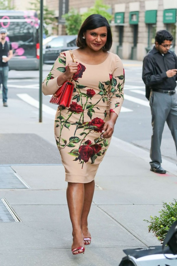 Mindy-Kaling-in-dolce-gabbana-rose-print-Floral-Dress.jpg
