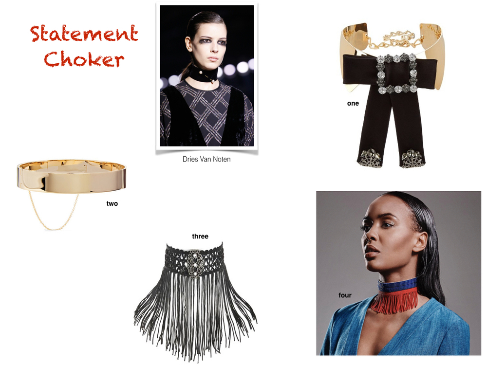 one. Dolce & Gabbana, $1,895 | two. Eddie Borgo, $375 | three. Topshop, $25 | four. needle + thraed, custom