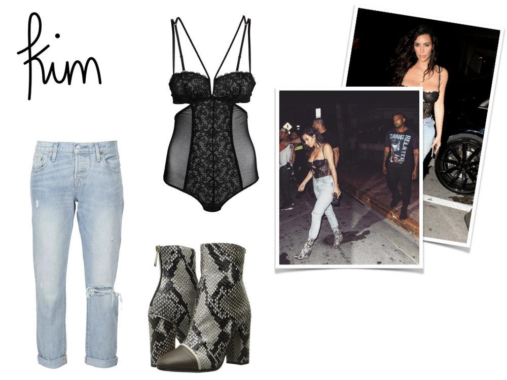 jeans, Levi's, $168 // bodysuit, H&M, $29.99 // boots, Just Cavalli