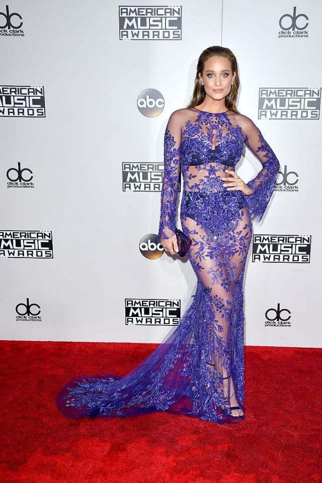 Model Hannah Davis in Zuhair Murad gives us a great jewel tone.