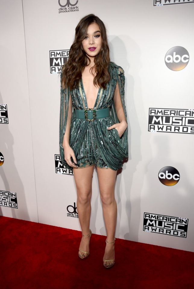Hailee Steinfeld also makes a great case for sparkly shorts in this couture Elie Saab romper.