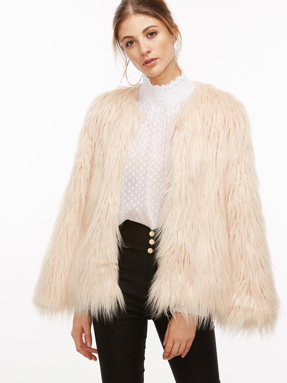 Apricot Faux Fur Coat - $57.99 - us.shein.com