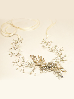 """CHELSEA"" HAND BEADED BRIDAL HAIR VINE  $145"