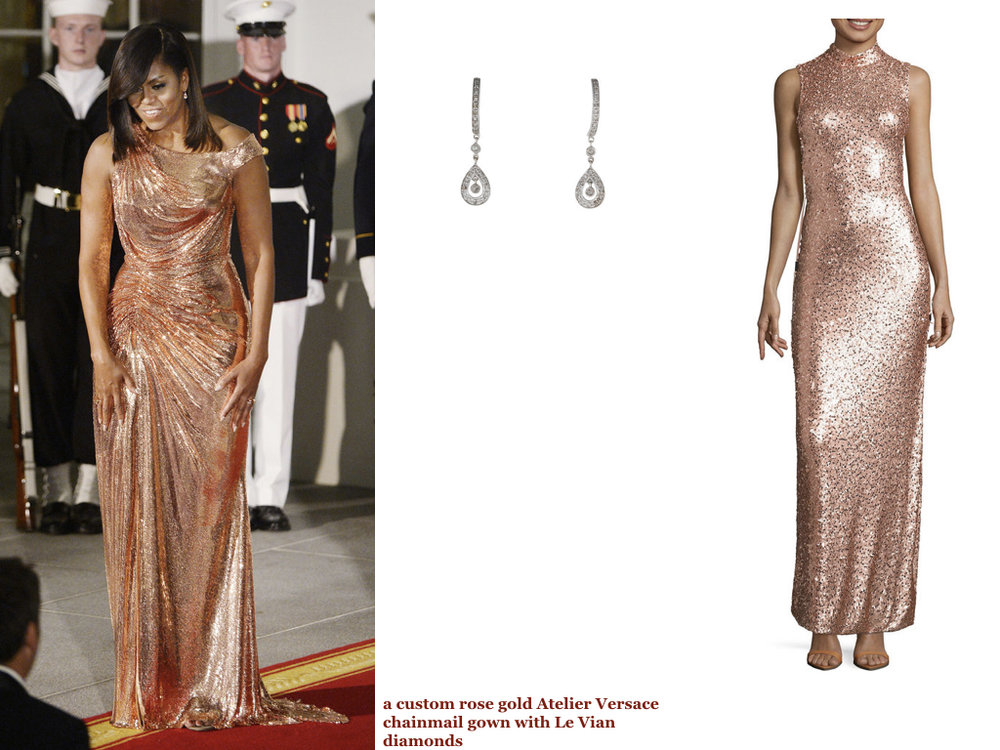 gown,   LOVE REIGNS  , $126 |   diamond drop earrings  , $225