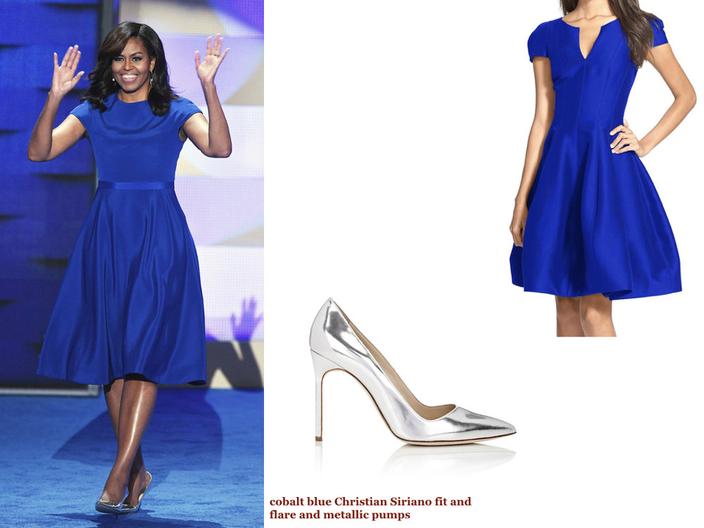 dress,   HALSTON HERITAGE  , $445 | shoes,   MANOLO BLAHNIK  , $595