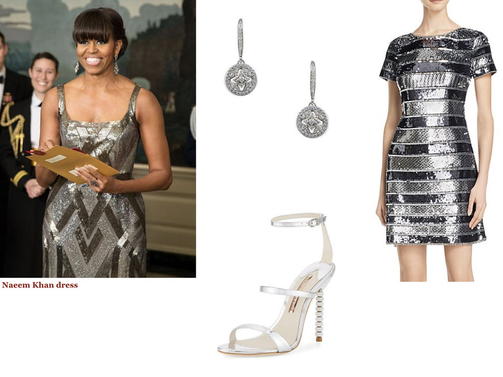 dress,   AIDAN MATTOX  , $395 | earrings,   LORD & TAYLOR  , $40 | shoes,   SOPHIA WEBSTER  , $495