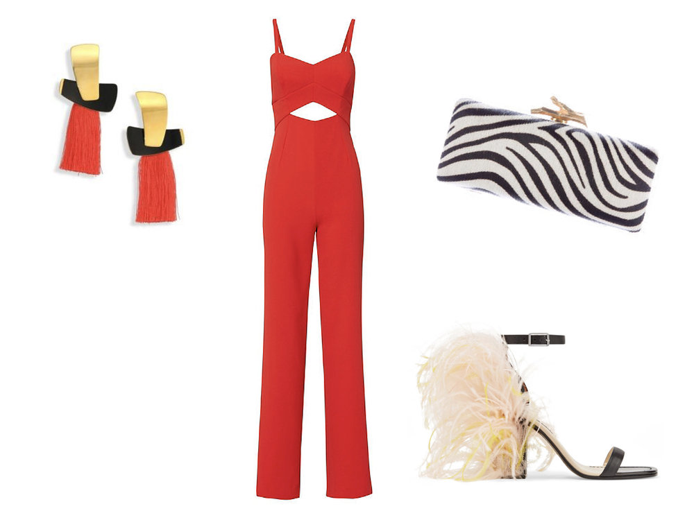 earrings,  LIZZIE FORTUNATO , $295 | jumpsuit,  LA PERLA FOR INTERMIX , $385 | clutch,  DIANE VON FURSTENBERG , $91 | shoes,  EMILIO PUCCI , $492
