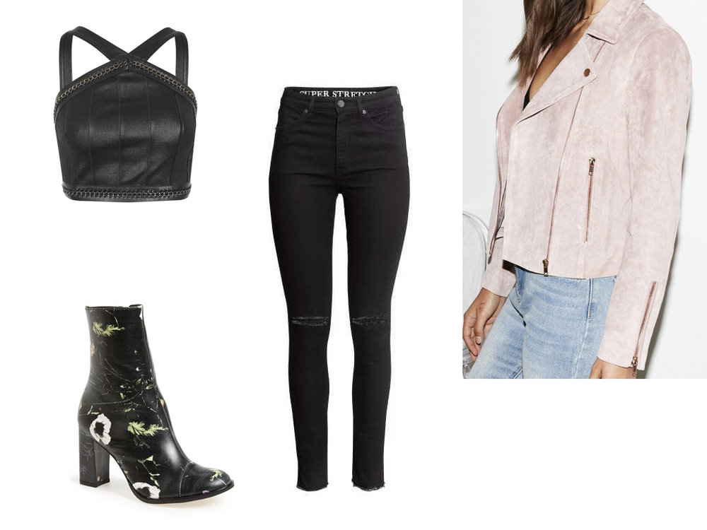 top,  TOPSHOP , $50 | jeans,  H&M , $35 | jacket,  KENDALL + KYLIE , $123 | boot,  MATISSE , $200