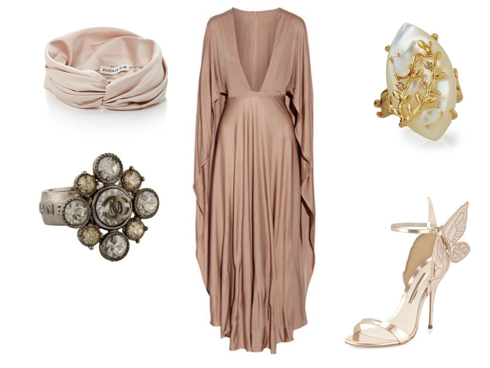 turban,  EUGENIA KIM , $125 | dress,  VALENTINO , $4,440 | ring,  INDULGEMS , $95 | shoes,  SOPHIA WEBSTER , $675 | ring,  CHANEL , $395