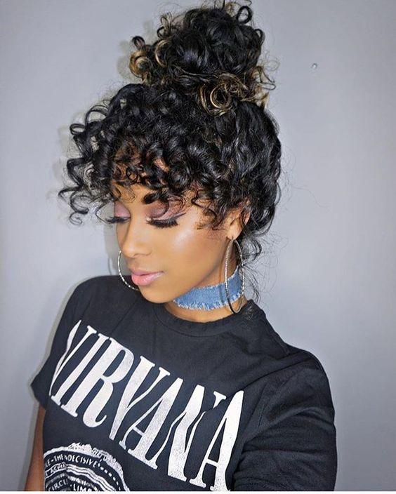 Curly messy bun
