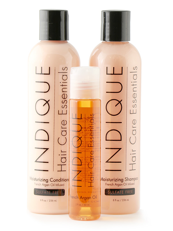 Indique Hair Care Essentials bundle includes Moisturizing Shampoo, Conditioner, and French Argan Oil $50