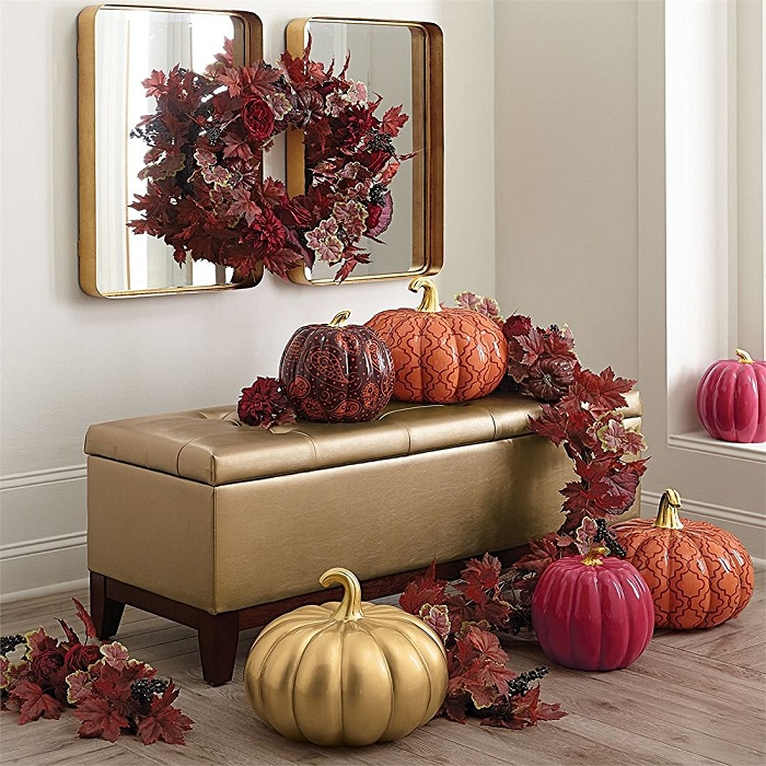 fall decor + modern glam fall decor + Brylan Home autumn twilight wreath + Brylan Home purple pumpkin + Brylan Home paisley pumpkin + fauz glam pumpkins.jpg