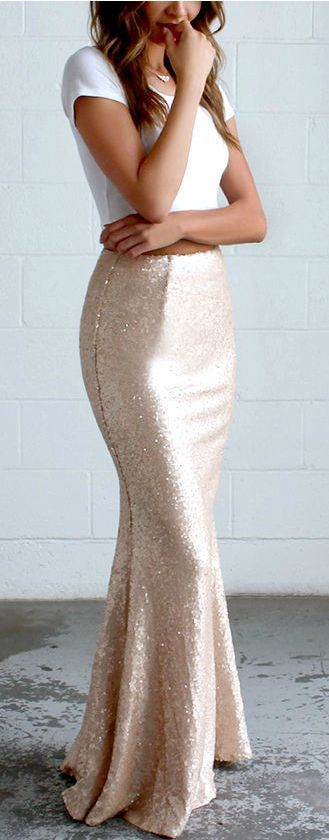 Pair a crop top with a sequined maxi skirt.