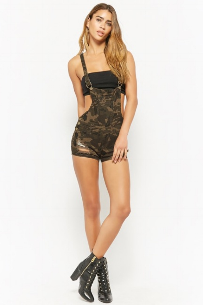 Distressed Camo Overall Shorts $28.00 Available at Forever21