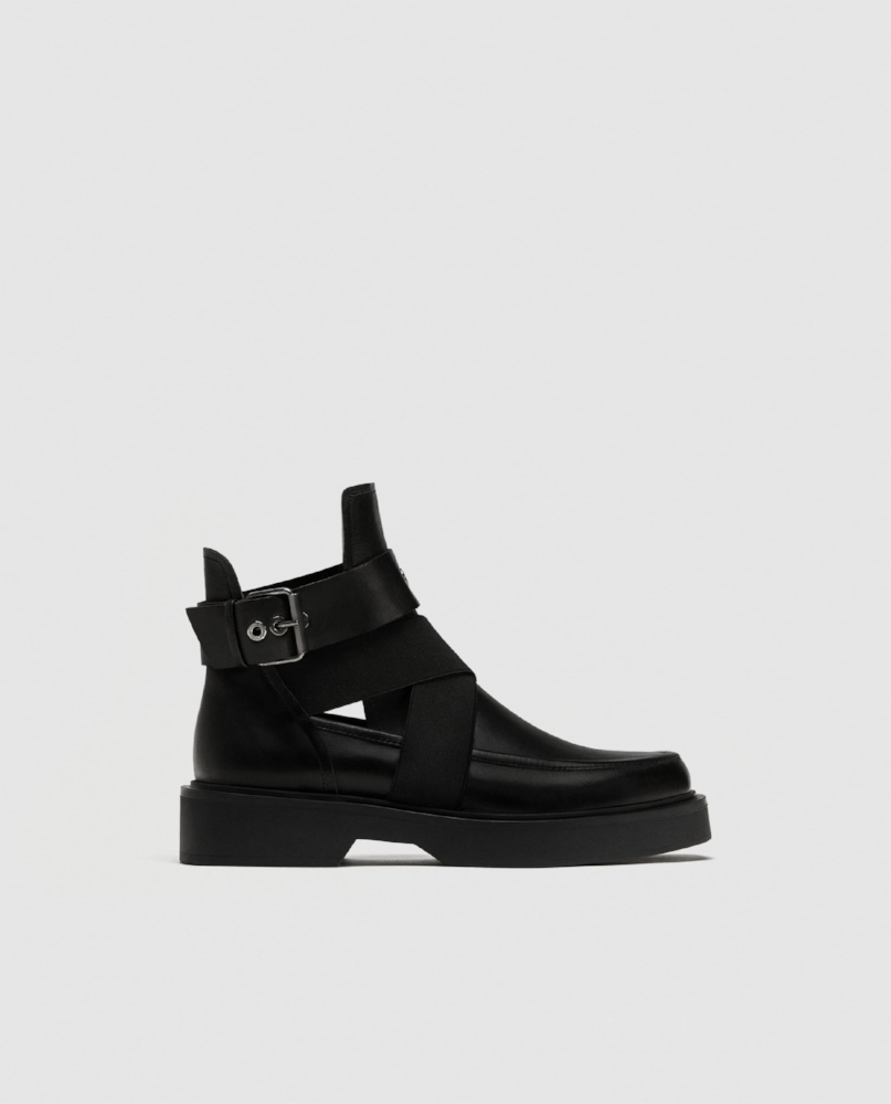 Leather Ankle Boots With Opening Details $99.90 Available at ZARA