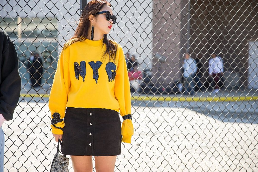 Graphic Sweater, Statement Earrings, and Shades