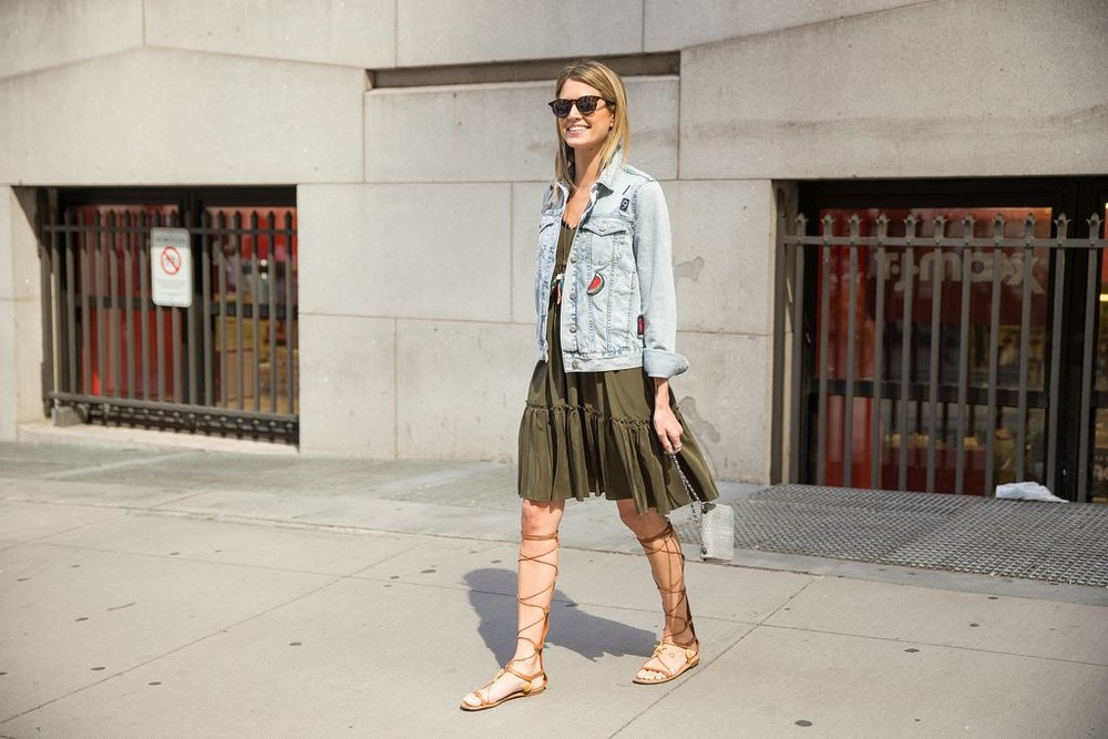 Gladiator Sandals, Tunics, and Denim Jacket